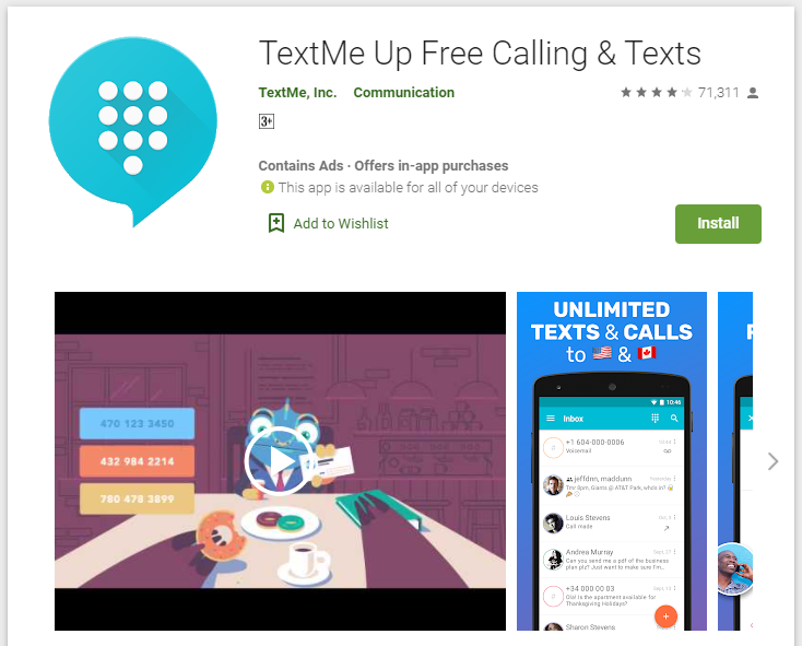 TextMe Up Playstore