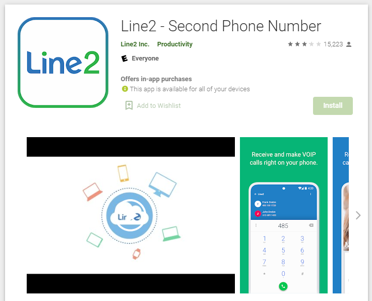 Line2 PlayStore