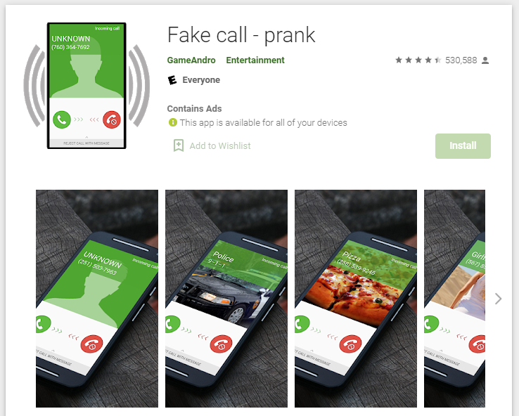 Fake Call PlayStore