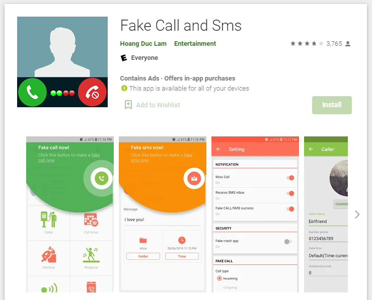 Face Call & Face SMS PlayStore